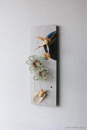 しっとりと落ち着いた雰囲気の結納品リメイクアートパネル (鶴亀・月桂樹、斜めアングル)