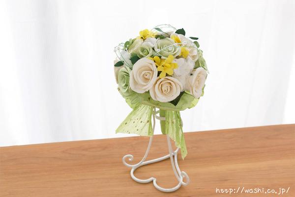 菜の花とバラの和紙の花束・ブーケ(結婚記念日・紙婚式のプレゼント)正面