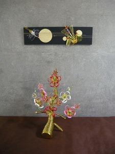 梅と宝船の水引組合せ(結納水引飾りリメイクパネル)