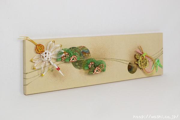 結納品リメイク「モダンなアートパネル」 (鶴亀と松竹の水引飾りアレンジ例)