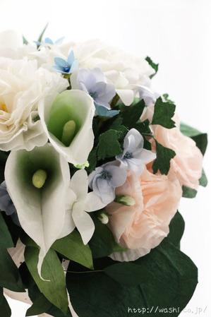 結婚1周年、紙婚式の和紙ブーケ。全て和紙で作られたトルコ桔梗ブーケ・花束 (正面アップ)