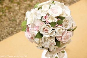 愛知県T様オリジナル和紙ブーケ・花束 。結婚1周年のプレゼント(斜め上から)