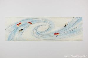 金魚柄の創作和紙(渦)