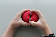 リンゴを取り出している所(リンゴ型オブジェの作り方)2