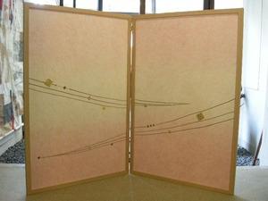 結納水引飾りのリメイク屏風(水引無し、ピンク)