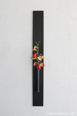 和紙製のカラスウリを使ったモダンな一輪挿しパネル(正面)