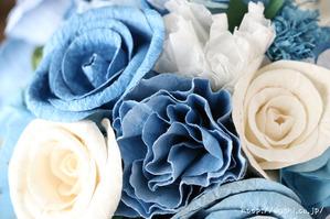 結婚式のサプライズプレゼント!サムシングブルーの和紙ブーケ・花束(和紙の花部アップ)