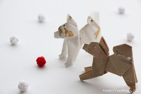 2018年戌年(和紙で作った犬の折り紙)
