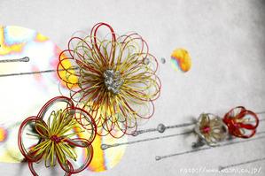 花の水引飾りとシルバーパネル(結納水引リメイク額)