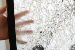 擦りガラスの様な透け感(創作和紙屏風)