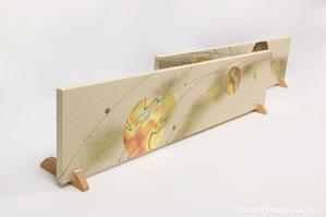 結婚披露宴のメインテーブル(高砂席)装飾としてご依頼頂いた、東京都M様の結納水引リメイクパネル(パネルスタンド使用時)