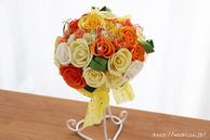 受注生産和紙ブーケ・花束(イエローオレンジ)結婚1周年の紙婚式プレゼント