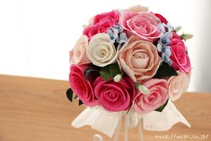 初めての結婚記念日「紙婚式」に贈る、ピンク系バラの和紙ブーケ・花束 (1)