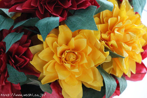 赤と黄色のダリア(和紙ブーケ・花束) (2)