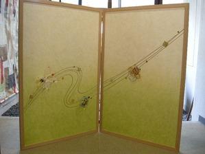 結納水引飾りのリメイク屏風(若葉のような優しい色合い)