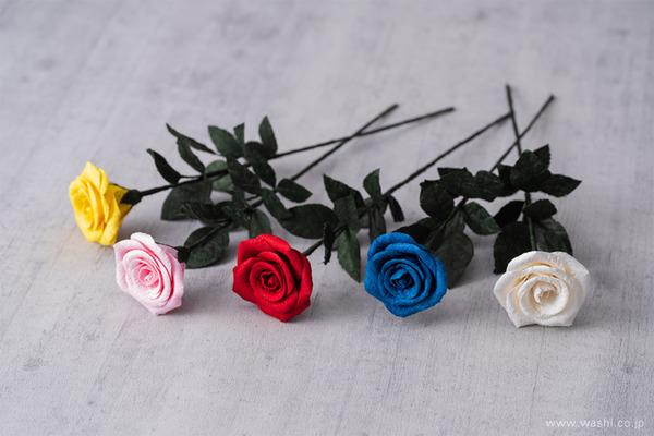 特別な結婚記念日に「和紙製一輪のバラ」Newバージョン新入荷 (全5色)