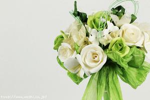 結婚1周年(紙婚式)のプレゼントにオススメの和紙ブーケ・花束(白)アップ