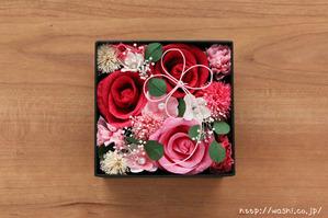 結婚1周年(紙婚式)プレゼントにオススメの和紙の花ボックスフラワー(赤系)