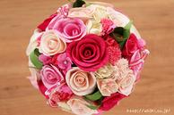 和紙の花(結婚1周年の紙婚式や、プロポーズプレゼントに最適な受注生産品の和紙ラウンドブーケ・花束)ピンク、真上