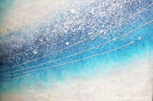 ブルー系デザイン創作和紙のパーティション(縦90cm×横43cm(×4)) (2)