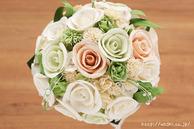 和紙の花(結婚1周年の紙婚式や、プロポーズプレゼントに最適な受注生産品の和紙ラウンドブーケ・花束)ホワイト、真上