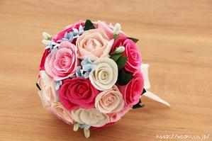 初めての結婚記念日「紙婚式」に贈る、ピンク系バラの和紙ブーケ・花束 (4)