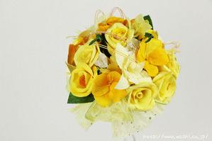結婚1周年(紙婚式)のプレゼントにオススメの和紙ブーケ・花束(黄)アップ