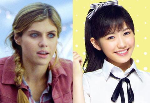 AKB48の渡辺麻友(右)と渡辺が吹替えを務めるアレクサンドリア・ダダリオ