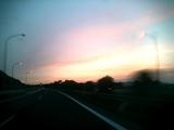 高速道路からの夕焼け