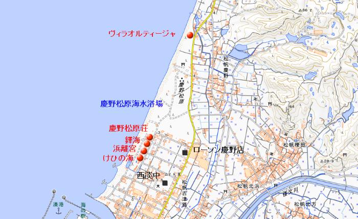 地図 慶野松原の宿