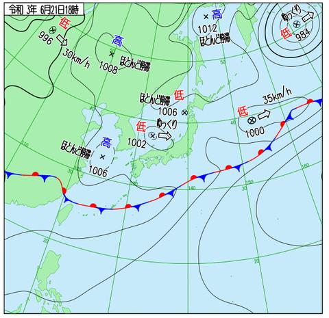 天気図2021.6.21.18