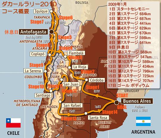 ダカールラリー2010 コース&スケジュール