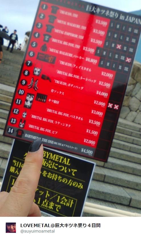 BABYMETAL「巨大キツネ祭り大阪城ホール1日目:物販」