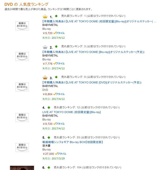 BABYMETAL「東京ドームデロリアン Amazon売れ筋ランキング上位独占」