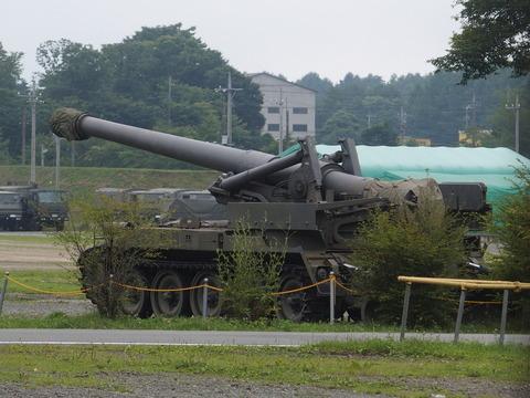陸上自衛隊北富士駐屯地の重火器と車両