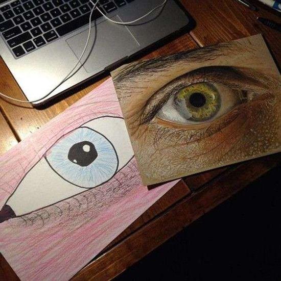 【衝撃画像】絵が好きで何年も描き続けた人の成果がわかるビフォア・アフター比較絵がヤバすぎる・・・