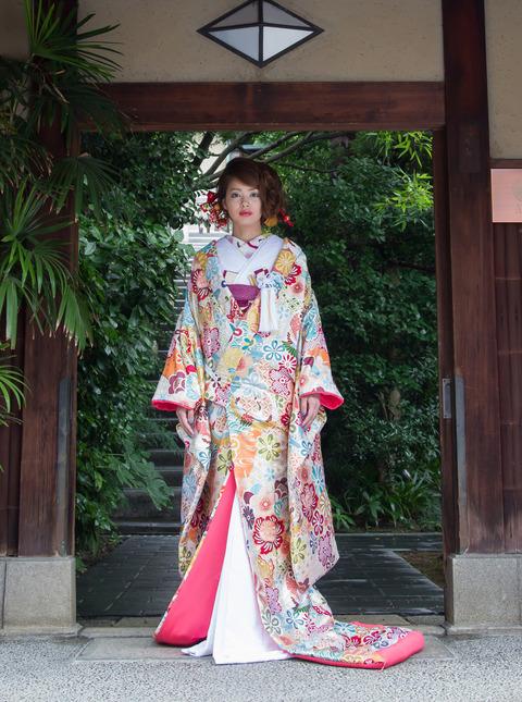 裂取鶴の丸に蝶 白水色 (5)
