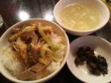 Cセット(チャーシューのせごはん・玉子スープ・漬物)
