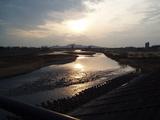渡良瀬橋で見る夕日