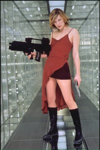Milla 003 red dress and gun