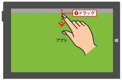 アプリを画面上端から中央方向にドラッグします1.