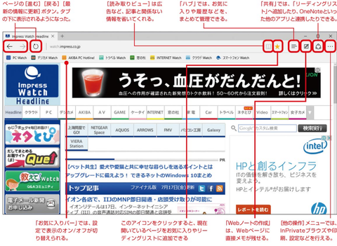 Microsoft Edgeのスタート画面