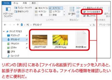 ファイルの拡張子を表示する