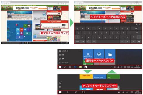 タブレットモードはタッチ操作に最適化されたモード