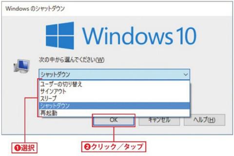 「Windowsのシャットダウン」が表示されます