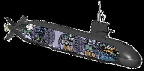 そうりゅう断面図(船体延長)