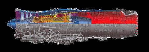 戦闘機用エンジンの構想断面図