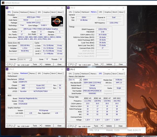 AMD Ryzen 7 PRO 4750G_Deskmini A300_GPU-Stress_2666MHz
