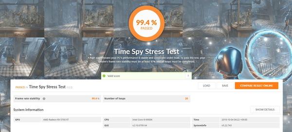 SAPPHIRE NITRO+ Radeon RX 5700 XT_TimeSpy Stress Test