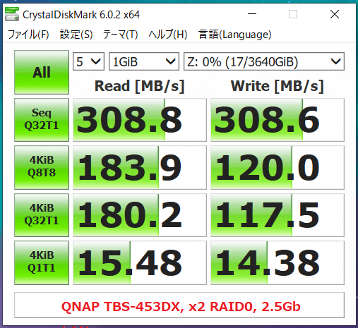 QNAP TBS-453DX_x2 RAID0_2.5Gb LAN